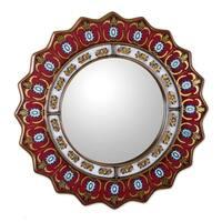 Handmade Ruby Medallion Mirror (Peru)