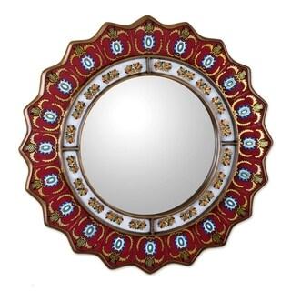 Handmade Ruby Medallion Reverse Painted Glass Red Mirror (Peru)