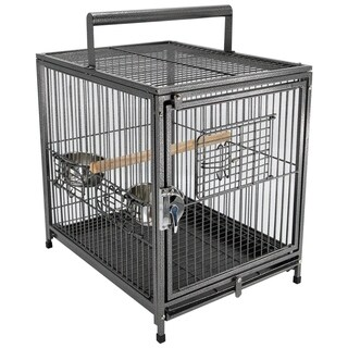 """PawHut 22"""" Heavy Duty Wrought Iron Travel Bird Cage Carrier With Handle Perch And Accessories - Black"""