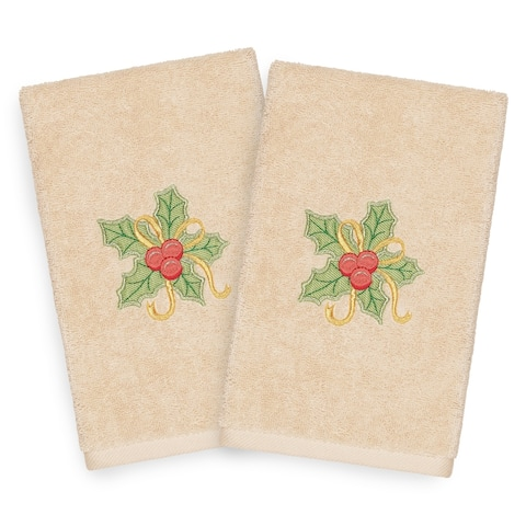 Authentic Hotel and Spa Turkish Cotton Christmas Holly Beige Set of 2 Hand Towels