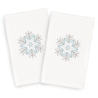 Authentic Hotel and Spa Turkish Cotton Large Snowflake White Set of 2 Hand Towels