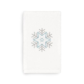 Authentic Hotel and Spa Turkish Cotton Large Snowflake White Hand Towel
