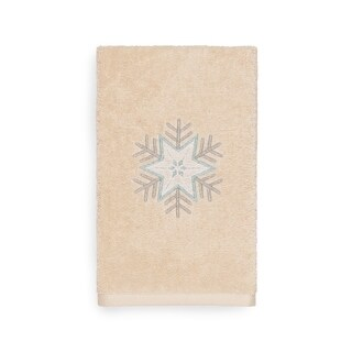 Authentic Hotel and Spa Turkish Cotton Large Snowflake Beige Hand Towel