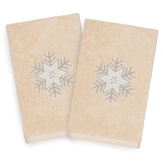 Authentic Hotel and Spa Turkish Cotton Large Snowflake Beige Set of 2 Hand Towels