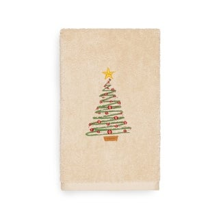 Authentic Hotel and Spa Turkish Cotton Christmas Tree Beige Hand Towel