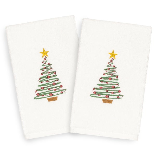 Authentic Hotel and Spa Turkish Cotton Christmas Tree White Set of 2 Hand Towels