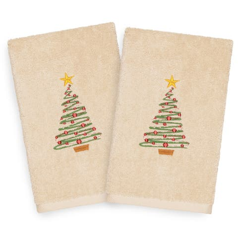 Authentic Hotel and Spa Turkish Cotton Christmas Tree Beige Set of 2 Hand Towels