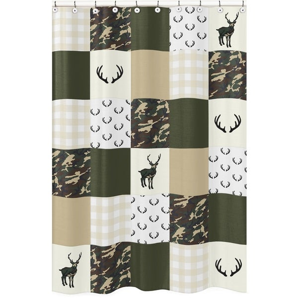 Sweet Jojo Designs Green And Beige Deer Buffalo Plaid Check Woodland Camo Collection Bathroom Fabric Bath