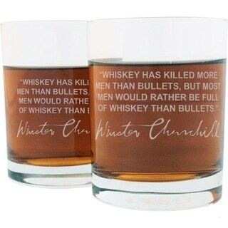 Whiskey Lovers Engraved Personalized Whiskey Glasses - W. Churchill