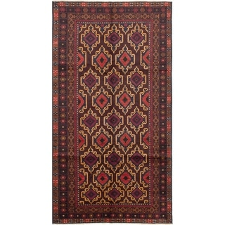ECARPETGALLERY  Hand-knotted Finest Rizbaft Dark Red Wool Rug - 5'10 x 10'9