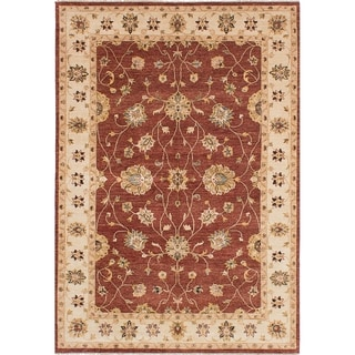 ECARPETGALLERY  Hand-knotted Chobi Twisted Dark Red Wool Rug - 6'4 x 9'1