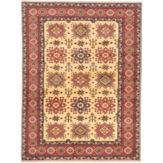 ECARPETGALLERY Hand-knotted Finest Kargahi Light Gold Wool Rug - 6'9 x 9'0