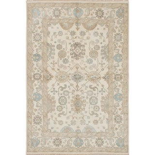 ECARPETGALLERY  Hand-knotted Royal Ushak Cream Wool Rug - 5'10 x 8'8