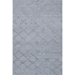 ECARPETGALLERY  Flat-weave Cambridge Grey, Light Grey Silk, Wool Kilim - 6'0 x 9'2