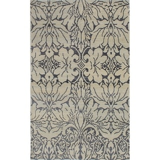 ECARPETGALLERY  Hand-knotted La Seda Light Grey Silk, Wool Rug - 4'11 x 7'10