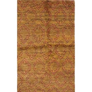 ECARPETGALLERY Hand-knotted Eternity Light Brown Hemp Rug - 4'11 x 7'11