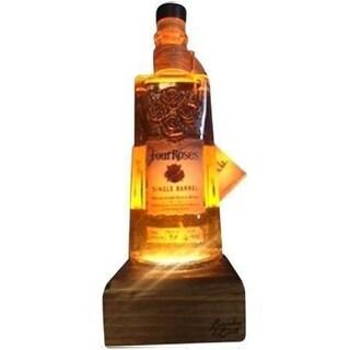 Reclaimed Bourbon & Whiskey Bottle Liquid Desk Lamp - Four Roses Single Barrel