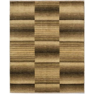 ECARPETGALLERY Hand-knotted Luribaft Gabbeh Riz Beige, Olive Wool Rug - 4'8 x 5'9