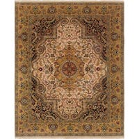 ECARPETGALLERY  Hand-knotted Jamshidpour Ivory Wool Rug - 8'2 x 10'2