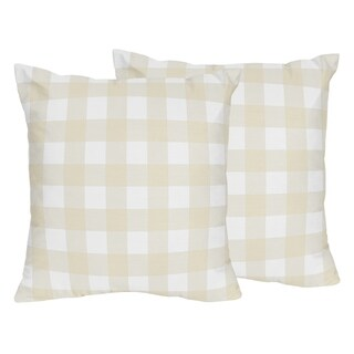 Sweet Jojo Designs Beige White Buffalo Plaid Woodland Camo Collection 18-inch Decorative Accent Throw Pillows (Set of 2)