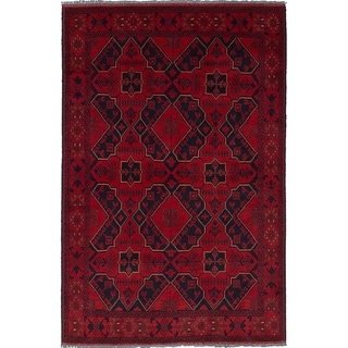 ECARPETGALLERY  Hand-knotted Finest Khal Mohammadi Red Wool Rug - 4'1 x 6'2