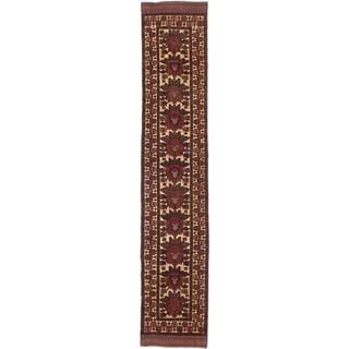 ECARPETGALLERY  Hand-knotted Ghafkazi Dark Red, Ivory Wool Rug - 2'4 x 12'10