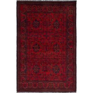 ECARPETGALLERY  Hand-knotted Finest Khal Mohammadi Red Wool Rug - 4'3 x 6'7