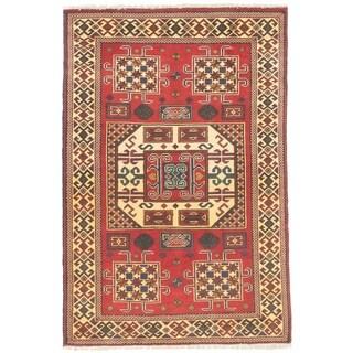 ECARPETGALLERY  Hand-knotted Finest Kargahi Dark Red Wool Rug - 3'5 x 4'11