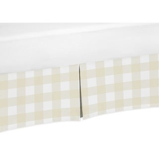Sweet Jojo Designs Beige and White Buffalo Plaid Check Woodland Camo Collection Toddler Bed Skirt