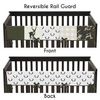 Sweet Jojo Designs Green and Beige Deer Buffalo Plaid Check Woodland Camo Collection Long Crib Rail Guard Cover