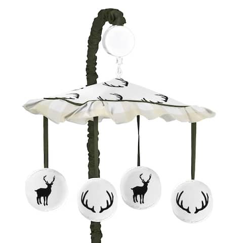 Sweet Jojo Designs Green and Beige Rustic Deer Buffalo Plaid Check Woodland Camo Collection Musical Crib Mobile