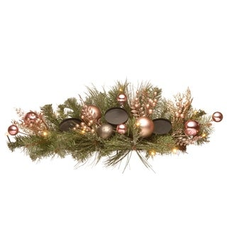 """National Tree Company 26"""" Decorated Pine Candle Holder Centerpiece with Battery Operated LED Lights"""