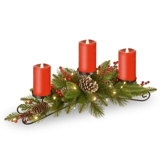 """National Tree Company 30"""" Battery Operated Bristle Berry Centerpiece with 3 Electronic Candles"""