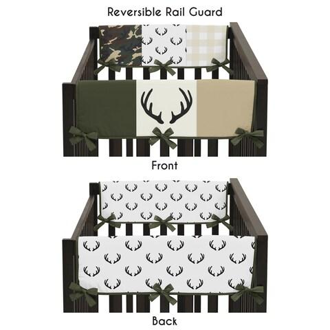 Sweet Jojo Designs Green and Beige Deer Buffalo Plaid Woodland Camo Collection Side Crib Rail Guard Covers (Set of 2)
