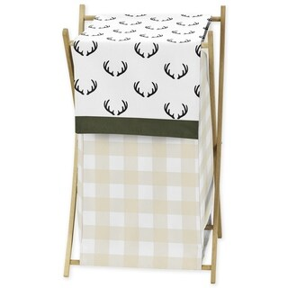 Sweet Jojo Designs Green and Beige Rustic Deer Buffalo Plaid Check Woodland Camo Collection Laundry Hamper