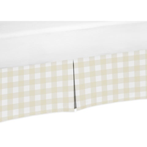 Sweet Jojo Designs Beige and White Buffalo Plaid Check Woodland Camo Baby Boy Collection Crib Bed Skirt