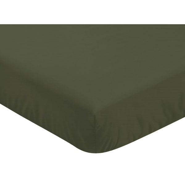 Sweet Jojo Designs Solid Dark Green Woodland Camo Collection Fitted Crib Sheet