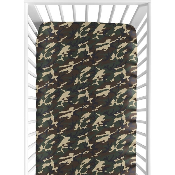 Sweet Jojo Designs Green and Beige Camouflage Woodland Camo Collection Fitted Crib Sheet