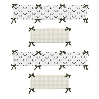 Sweet Jojo Designs Green, Beige, Black and White Rustic Deer Buffalo Plaid Woodland Camo Collection Baby Crib Bumper Pad