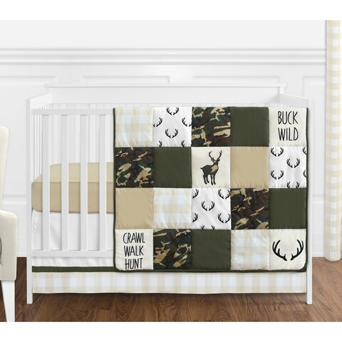 Sweet Jojo Designs Green Beige Deer Buffalo Plaid Check Woodland Camo Camouflage Collection Boy 4-piece Crib Bedding Set