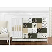 Sweet Jojo Designs Green Beige Deer Buffalo Plaid Check Woodland Camo Camouflage Collection Boy 11piece Crib Bedding Set