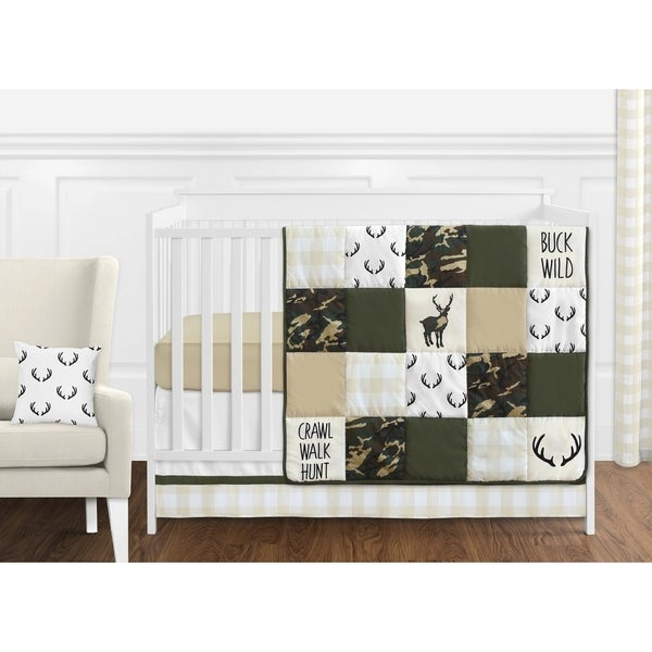 Sweet Jojo Designs Green Beige Deer Buffalo Plaid Check Woodland Camo Camouflage Collection Boy 11piece Crib Bedding Set