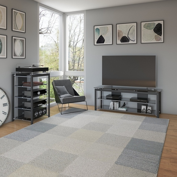 Shop Bush Furniture Midnight Mist Tv Stand And Audio Tower In Black