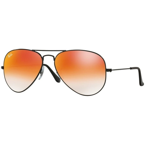 740ff8ca20a Ray-Ban RB3025 Aviator Black Frame Orange Gradient Flash 62mm Lens  Sunglasses