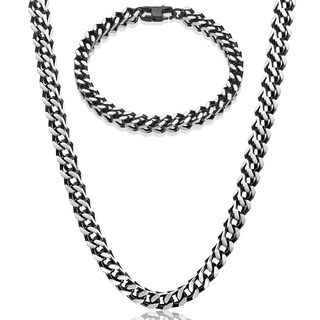 Crucible Two Tone Stainless Steel Franco Square Box Chain Set (6mm) - 24 inches
