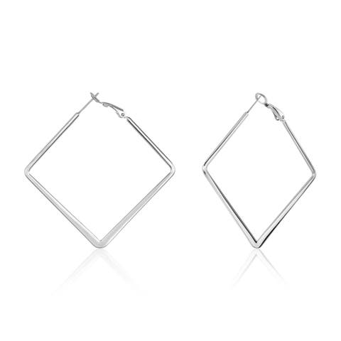 ELYA Diamond Shaped Stainless Steel Hoop Earrings