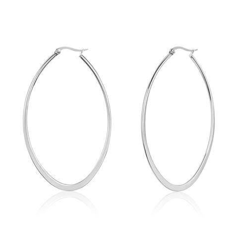 ELYA Large Oval Stainless Steel Hoop Earrings