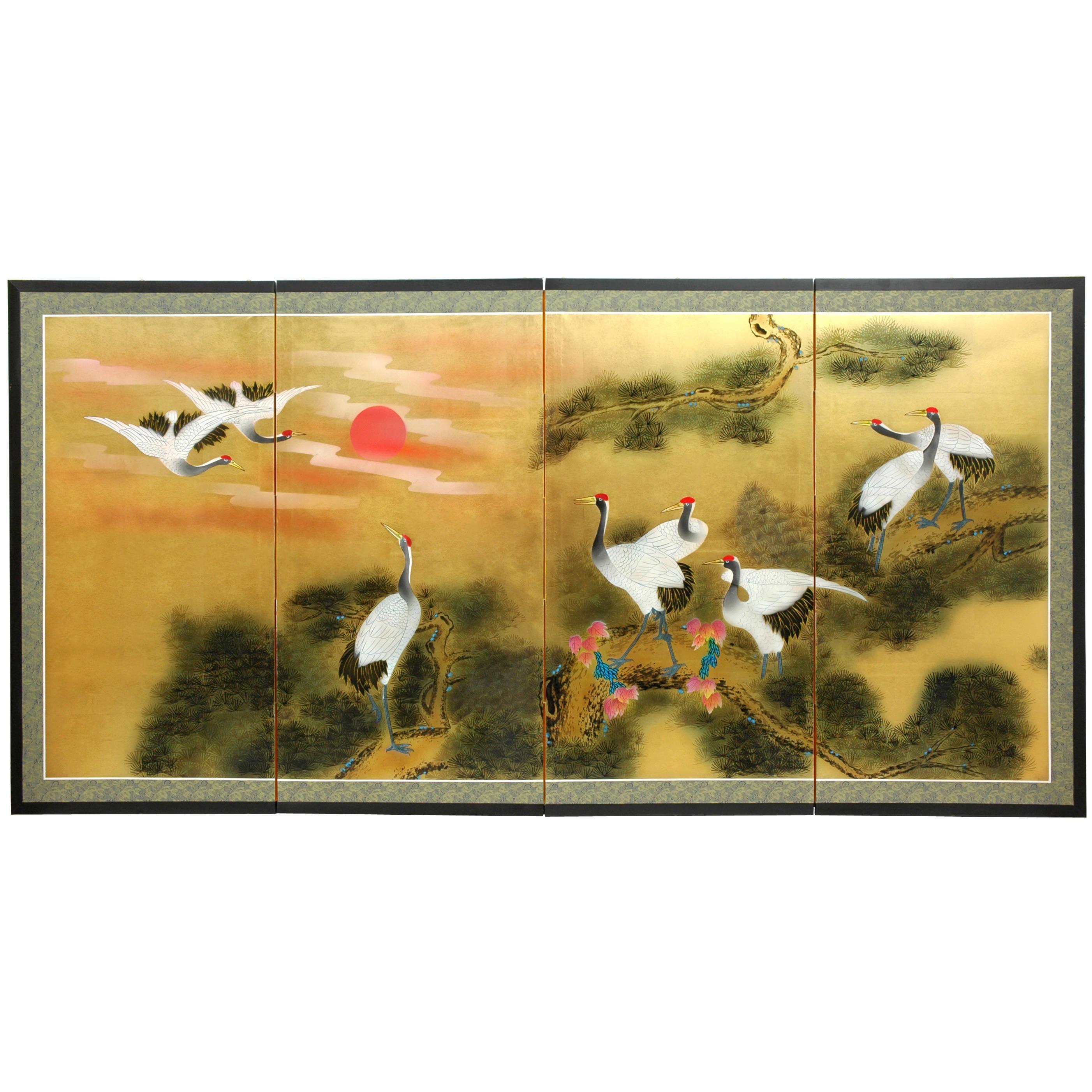 Silk Sunset Cranes Gold Leaf Screen (China)