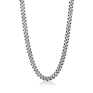 Crucible Black Plated Stainless Steel Curb Chain Necklace 8 5mm 24 Inches