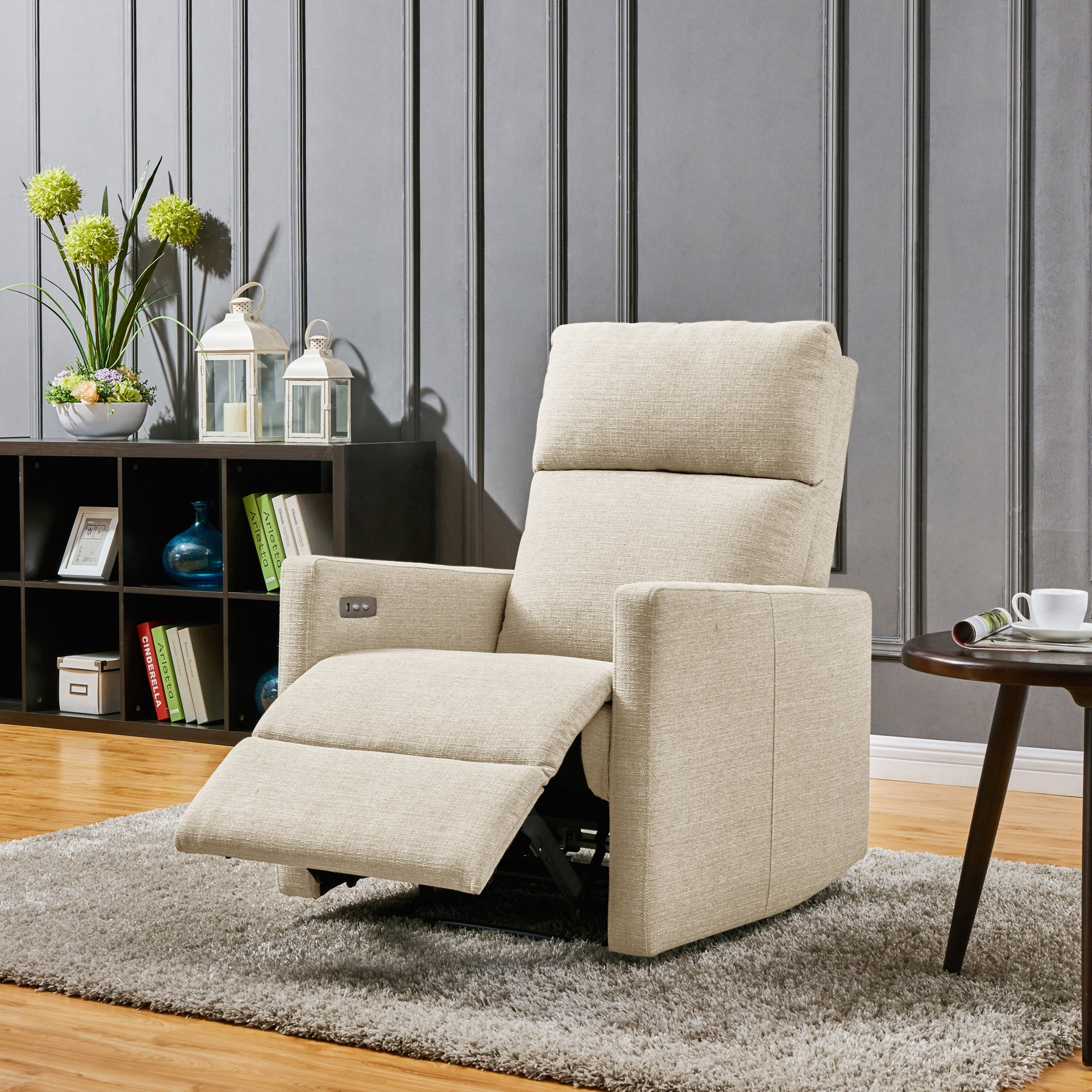 Admirable Prolounger Tan Linen Power Wall Hugger Reclining Chair With Usb Port Pabps2019 Chair Design Images Pabps2019Com